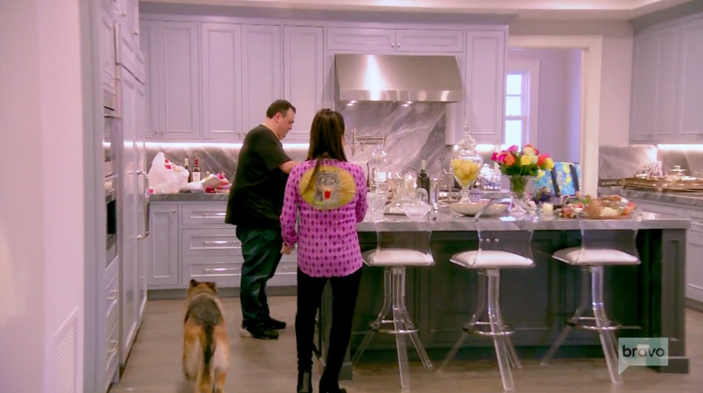 Kyle Richards' Clear Counter Height Kitchen Stools in Her New House