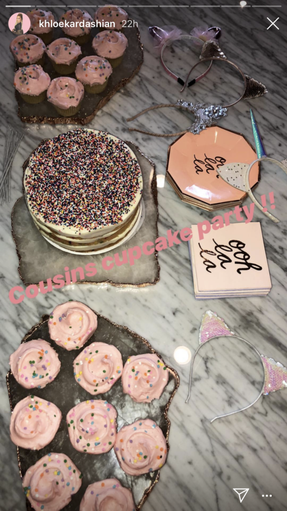 Khloe Kardashian's Ooh La La Party Plates and Napkins on Instagram Stories