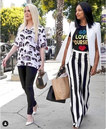 Garcelle Beauvais' Black and White Striped Pants