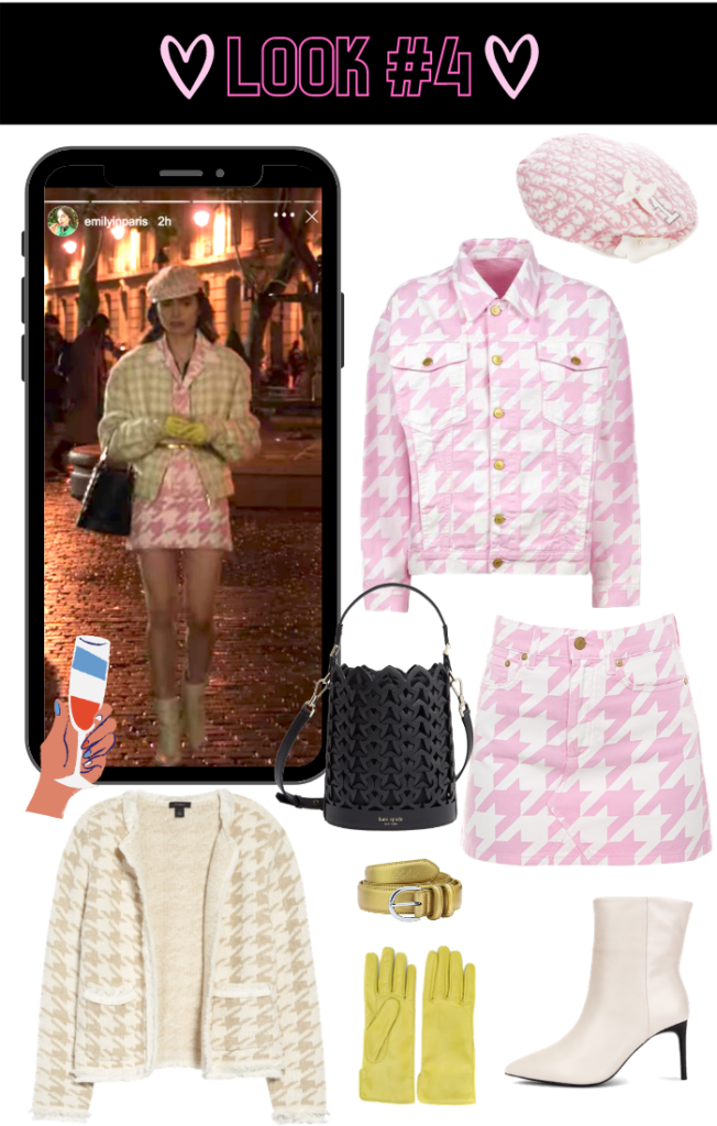 Emily in Paris Pink Houndstooth Outfit